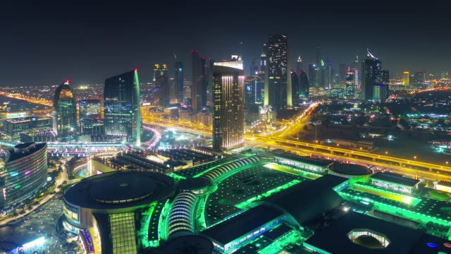 night-illumination-dubai-mall-roof-top-city-panorama-4k-time-lapse-united-arab-emirates