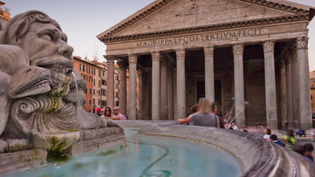 italy-rome-city-evening-famous-pantheone-front-fountain-panorama-4k-time-lapse