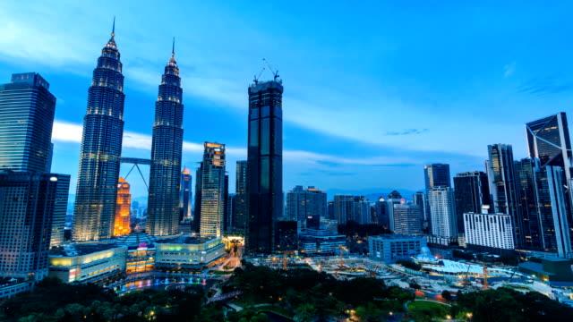 Kuala-Lumpur-paisaje-urbano-histórico-viaje-lugar-de-Malasia-4K-día-a-noche-Time-Lapse-(inclinación-hacia-abajo)