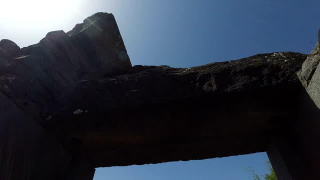 Slow-Pan-Through-Old-Ruined-Gateway