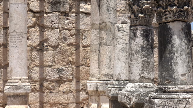 Close-Shot-Slow-Pan-Columns-in-Ancient-Remains-of-Temple