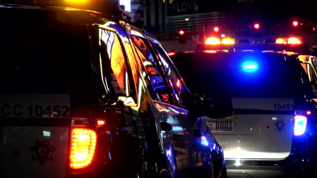 Police-Cars-on-duty-in-Las-Vegas-at-night