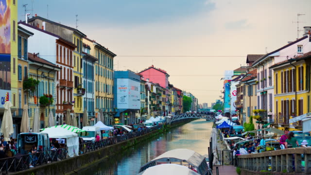 Italy-rainy-day-milan-city-famous-canal-weekend-market-panorama-4k-timelapse