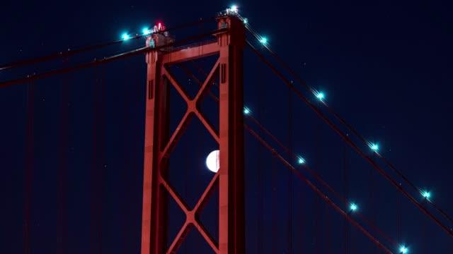 Zeitraffer-der-Mondfinsternis-mit-Blutmond-am-Ponte-25-de-Abril-Brückenturm-in-der-Nacht