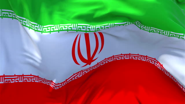 Iran-Flag-Waving-in-Wind-Slow-Motion-Animation-4K-Realistic-Fabric-Texture-Flag-Smooth-Blowing-on-a-windy-day-Continuous-Seamless-Loop-Background-