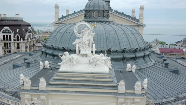 Aerial-shot-of-Odessa-Opera-House-The-roof-and-facade-