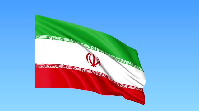 Waving-flag-of-Iran-seamless-loop-Exact-size-blue-background-Part-of-all-countries-set-FullHD