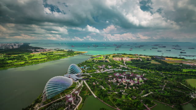 sunny-day-light-famous-singapore-roof-top-view-on-garden-4k-time-lapse