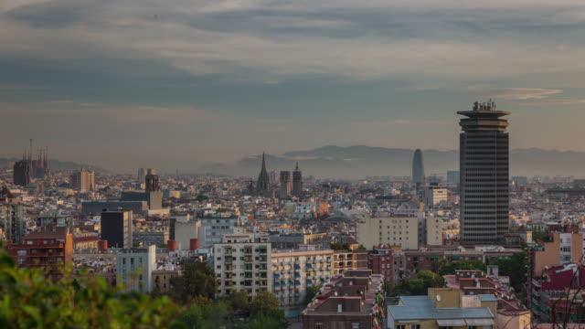 spain-barcelona-city-sunrise-tibidabo-mountain-panorama-4k-time-lapse