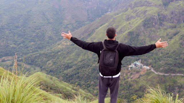 Young-man-tourist-with-backpack-standing-on-the-edge-of-beautiful-canyon-and-victoriously-raised-hands-Male-hiker-reaching-up-top-of-mountain-and-outstretching-arms-up-Rear-back-view