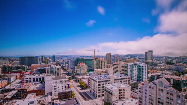 Tiempo-transcurrido---vista-panorámica-del-centro-de-la-ciudad-de-San-Francisco---4K