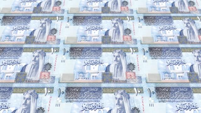 Banknoten-von-zehn-Jordanische-Dinar-von-Jordanien-Rollen-Bargeld-Schleife