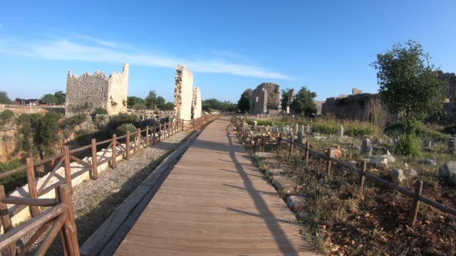 Steady-Shot-Cam-de-la-antigua-ciudad-de-Kanlidivane-en-Mersin-Turquía-