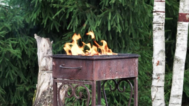 Fire-burns-in-rusty-iron-grill-
