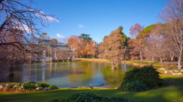 sunny-day-pond-view-on-crystal-palace-4k-time-lapse-spain-madrid