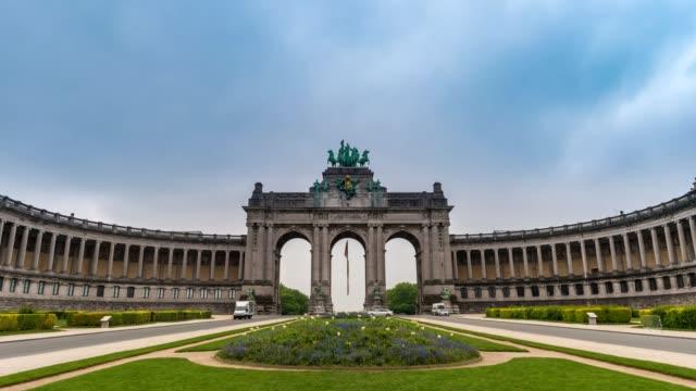 Timelapse-at-Arcade-du-Cinquantenaire-of-Brussels-(Arc-de-Triomphe)-Brussels