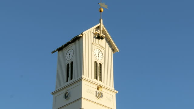 top-of-tower-of-icelandic-church-with-clock-bells-and-weathercock-against-clear-blue-sky