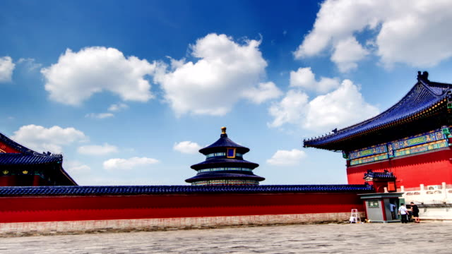 Walking-along-the-red-wall-in-the-Temple-of-Heaven-Beijing-China