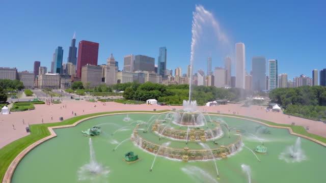 Vista-aérea-de-Buckingham-fountain-in-Chicago