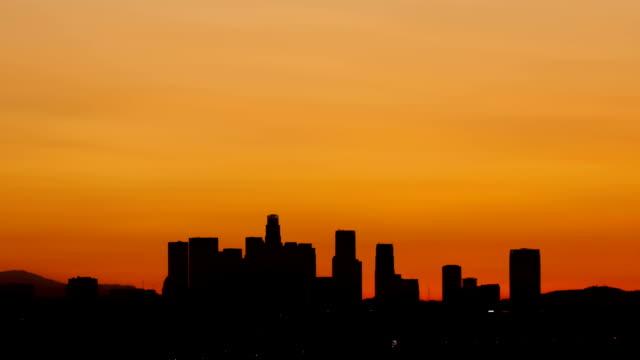 Time-lapse-Los-Angeles-skyline-sunrise