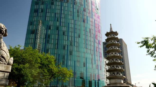 pagoda-de-león-chino-Chinatown-y-cerca-de-Birmingham-Inglaterra-