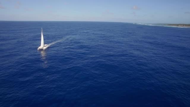 Aerial-view-of-yacht-sailing-in-sea-or-ocean
