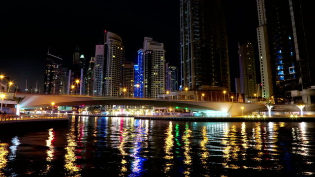 UHD-4K-Dubai-Marina-night-time-lapse,-United-Arab-Emirates