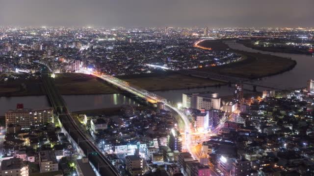 Riverside-city-night-view-(Ichikawa-city-Chiba-&-Edogawa-ku-Tokyo-Japan)