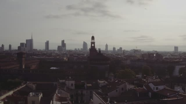 Aerial-footage-drone-view-sunrise-Milan-skyline-sunrise