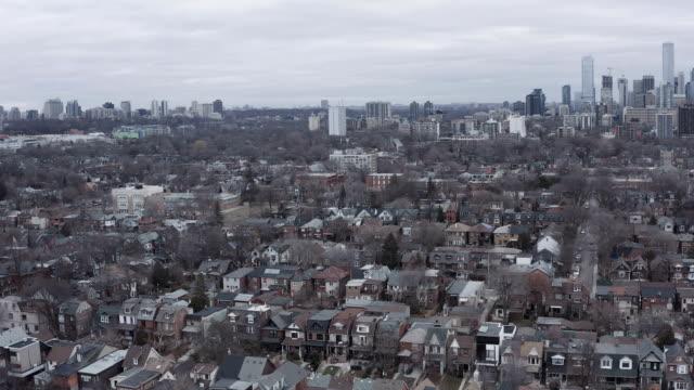 4K-Aerial-Establishing-Shot-of-a-Neighborhood-in-Toronto-Ontario-