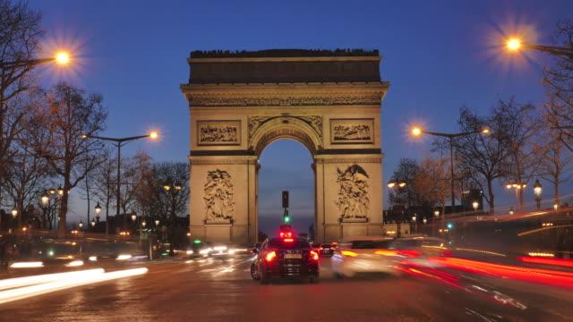 Arc-de-triomphe-on-the-Champs-Elysées-Paris-France-(Time-Lapse)