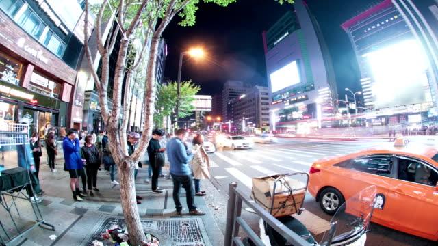 Timelapse-of-busy-night-street-in-Seoul-South-Korea