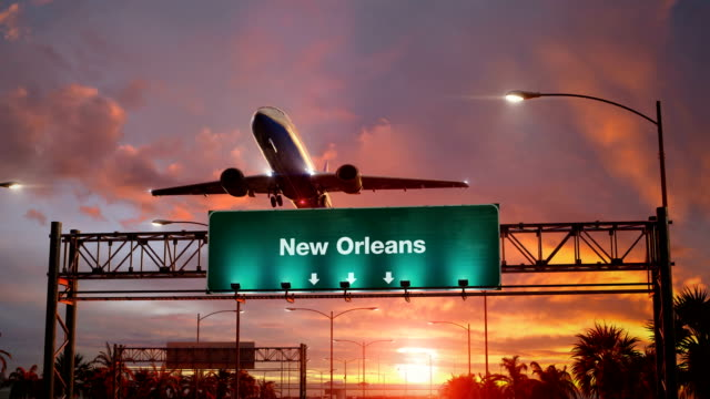 Airplane-Take-off-New-Orleans-during-a-wonderful-sunrise