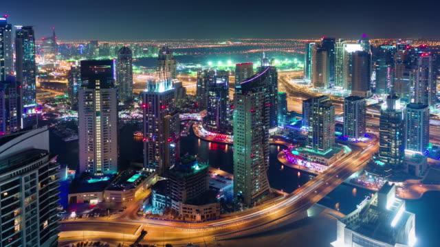 dubai-marina-roof-top-construction-city-panorama-4k-time-lapse-united-arab-emirates