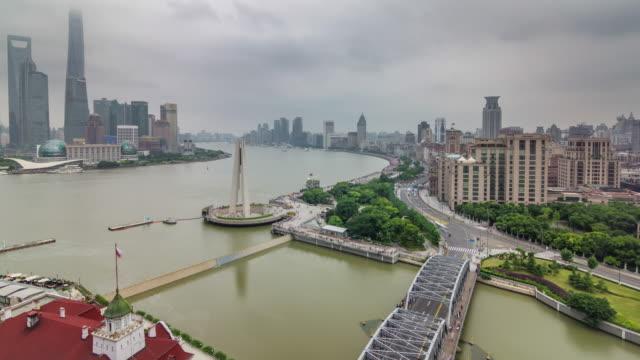 China-Shangai-panorama-de-puente-Río-techo-superior-aéreo-río-Bahía-tráfico-4k-lapso-de-tiempo