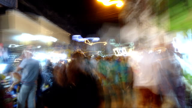 Abstract-blurring-of-Night-Market-Chiangmai-walking-street-Thailand-timelapse-footage