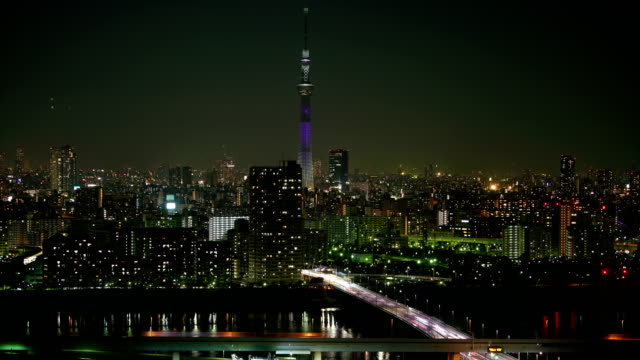 Time-lapse-Tokyo-sky-tree-aerial-view-at-night