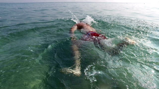 Crol-de-natación-nadador-profesional-al-aire-libre-vista-posterior-4k-senderismo-tiro