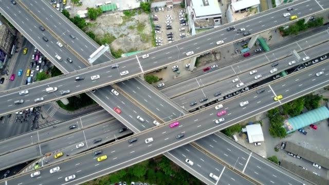 Aeiral-Szene-von-mehreren-Lane-Autobahn-Verkehr-in-der-Rush-Hour-4k-video