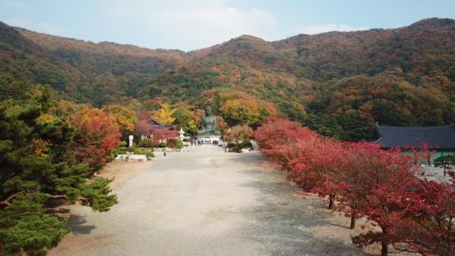 Luftbild-Herbst-Statue-des-Buddha-im-Tempel-Seoul-Korea