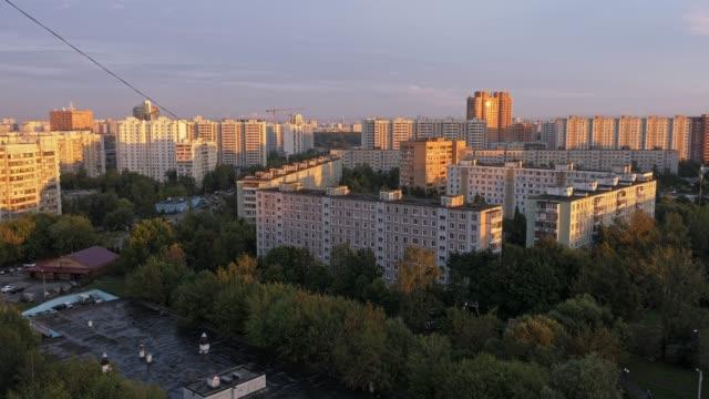 Zona-urbana-residencial-de-la-ciudad-de-Moscú-Lapso-de-tiempo
