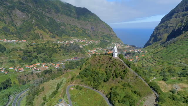 Old-Clock-Tower-on-a-Hill-in-Madeira