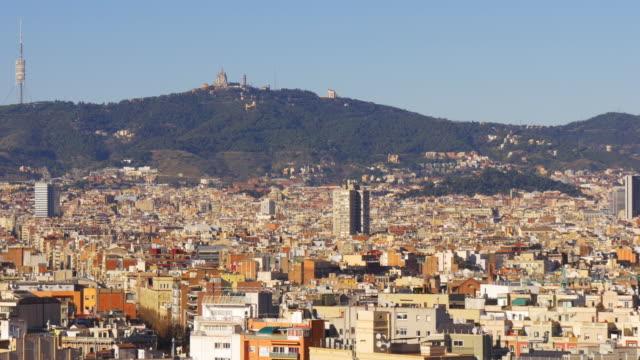 barcelona-sun-light-city-panorama-tibidabo-mountain-view-4k-spain