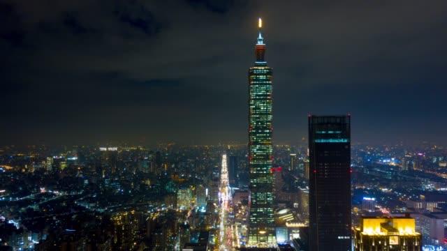 noche-iluminada-taipei-ciudad-famosa-Torre-panorama-aéreo-4k-timelapse-Taiwán