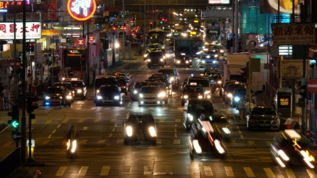Time-lapse-of-busy-street-with-traffic-and-pedestrians-of-Mong-Kok-at-night-in-Hong-Kong-