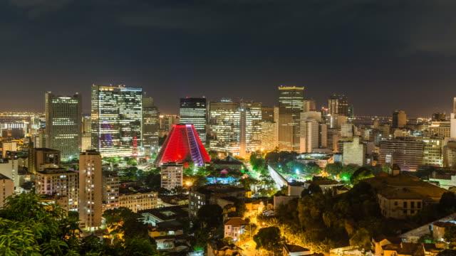 El-centro-De-la-ciudad-De-Rio-De-Janeiro-por-la-noche-