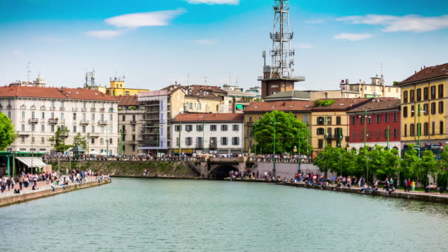 Italy-sunny-day-milan-city-famous-canal-bay-panorama-4k-timelapse