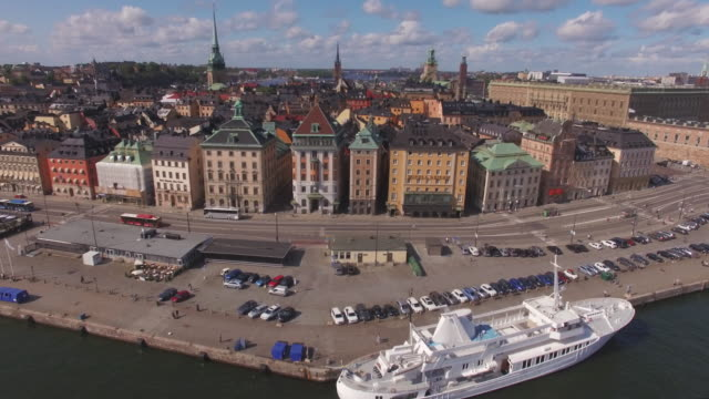 Flying-over-city-buildings-in-Stockholm-Sweden-Aerial-drone-view-of-Stockholm-Old-Town-Shot-in-4K-UHD