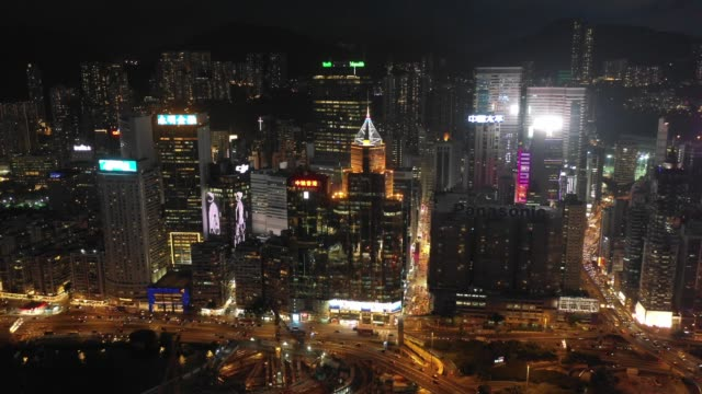4K-Aerial-view-footage-of-Hong-Kong-City-after-Sunset