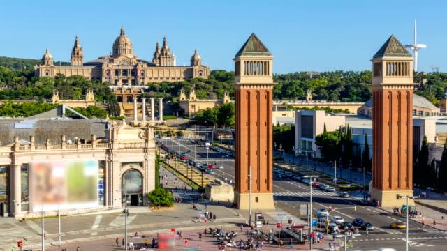 timelapse-Barcelona-ciudad-plaza-de-España-en-el-verano,-España
